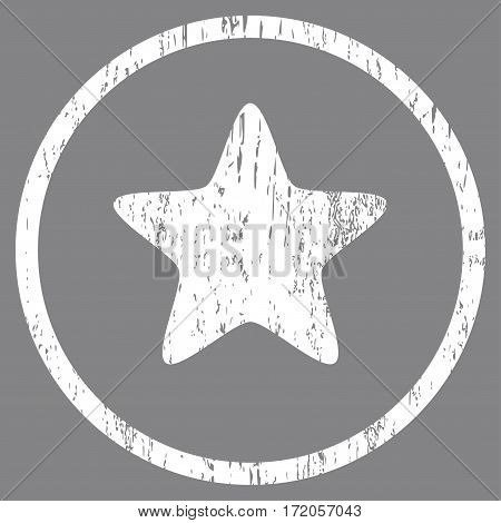 Star grainy textured icon for overlay watermark stamps. Rounded flat vector symbol with unclean texture. Circled white ink rubber seal stamp with grunge design on a gray background.