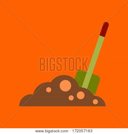 flat icon on stylish background halloween Plot shovel