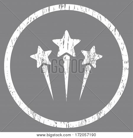 Star Salute grainy textured icon for overlay watermark stamps. Rounded flat vector symbol with dirty texture. Circled white ink rubber seal stamp with grunge design on a gray background.