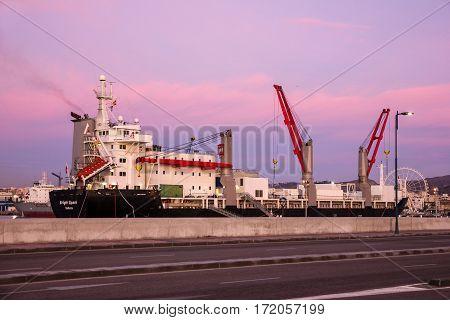 CADIZ, SPAIN - APRIL 16, 2017: Ship - general Cargo vessel in sea port Cadiz