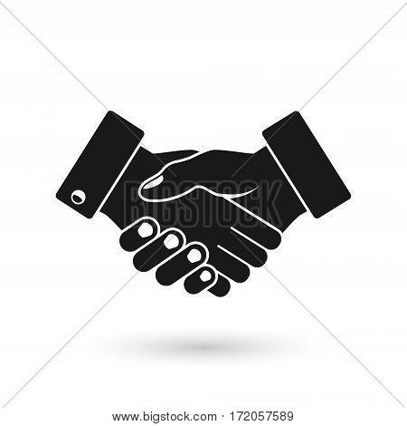 Handshake business icon vector black silhouette illustration.