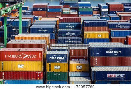 CASABLANCA MOROCCO - APRIL 22, 2017: Container terminal in sea port