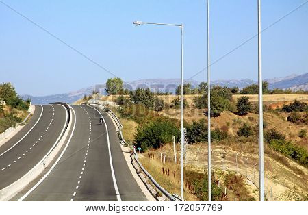 Nice view of highway in Greece, South Europe
