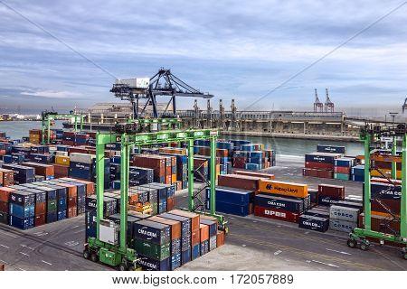 CASABLANCA MOROCCO - APRIL 2, 2017: Container terminal in Casablanca sea port Morocco