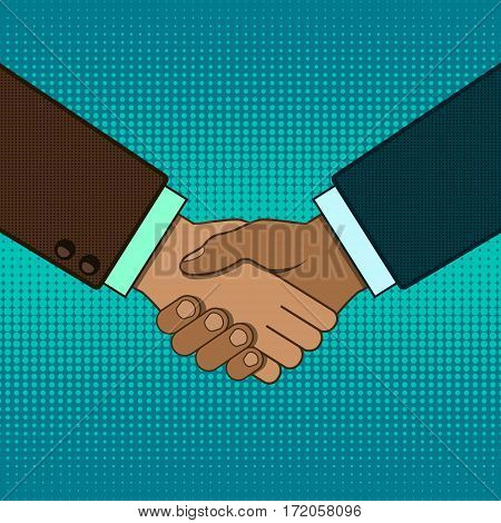 Shaking hands business vector pop art retro style illustration. Business handshake.