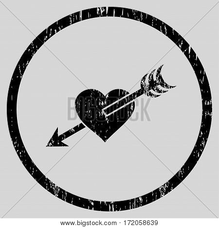 Arrow Heart grainy textured icon for overlay watermark stamps. Rounded flat vector symbol with scratched texture. Circled black ink rubber seal stamp with grunge design on a light gray background.