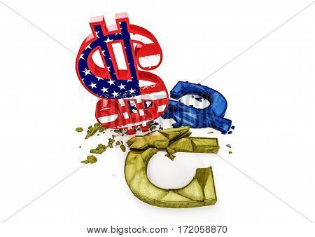 3D concrete Ukrainian hryvnia symbol destroyed by color Dollar sign. Exchange rate of Ukrainian hryvnia is fall.