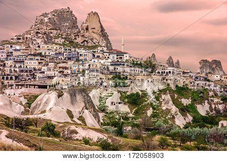Cappadocia, Turkey. Turkish fortress Uchisar landscape view