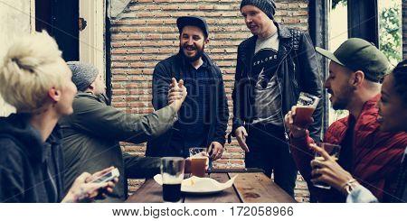 Men Hand Shaking Meeting Cafe