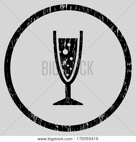Champagne Glass grainy textured icon for overlay watermark stamps. Rounded flat vector symbol with scratched texture. Circled black ink rubber seal stamp with grunge design on a light gray background.