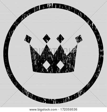 Crown grainy textured icon for overlay watermark stamps. Rounded flat vector symbol with scratched texture. Circled black ink rubber seal stamp with grunge design on a light gray background.