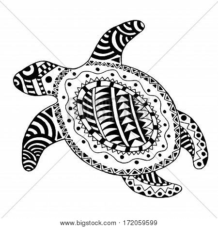 Zentangle stylized turtle. Hand drawn black white vector. Trible maori polynesian style. Illustration for tattoo adult coloring page decoration poster print.