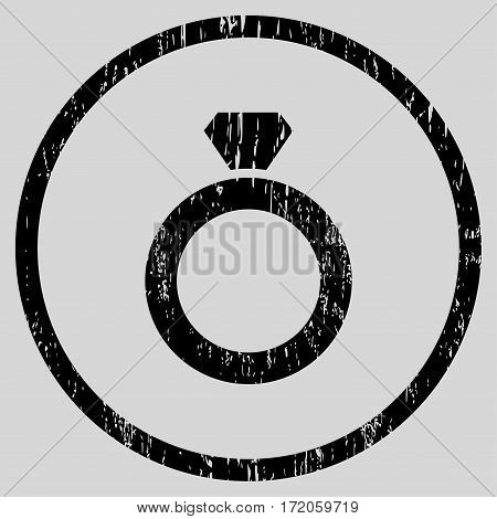 Diamond Ring grainy textured icon for overlay watermark stamps. Rounded flat vector symbol with unclean texture. Circled black ink rubber seal stamp with grunge design on a light gray background.