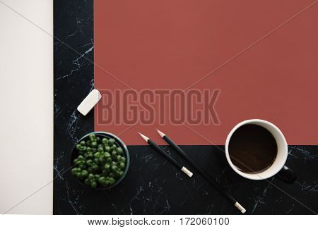 Flatlay Pencil Paper Eraser Plant Coffee
