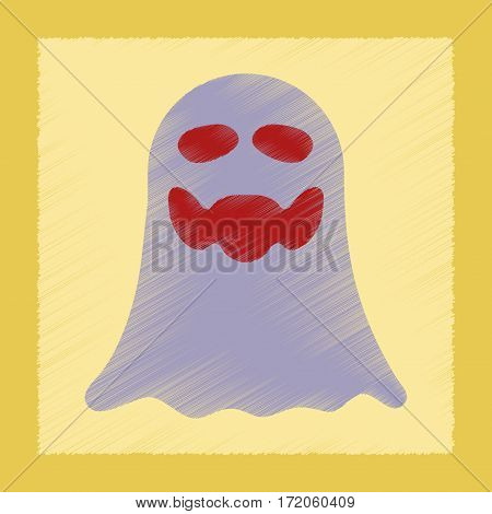 flat shading style icon of Halloween ghost
