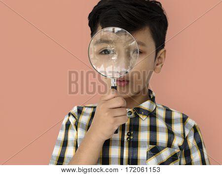 Child Boy Studio Portrait Gesture