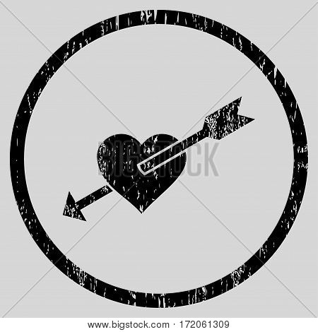 Heart Arrow grainy textured icon for overlay watermark stamps. Rounded flat vector symbol with scratched texture. Circled black ink rubber seal stamp with grunge design on a light gray background.