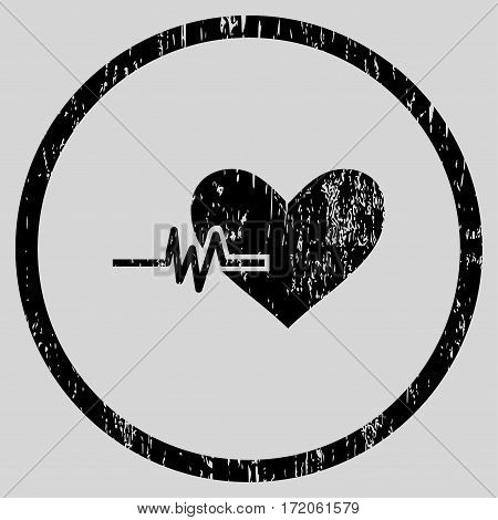 Heart Pulse grainy textured icon for overlay watermark stamps. Rounded flat vector symbol with dust texture. Circled black ink rubber seal stamp with grunge design on a light gray background.