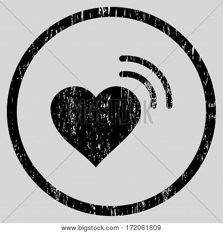 Heart Radio Signal grainy textured icon for overlay watermark stamps. Rounded flat vector symbol with dirty texture. Circled black ink rubber seal stamp with grunge design on a light gray background.