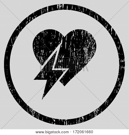 Heart Shock grainy textured icon for overlay watermark stamps. Rounded flat vector symbol with dirty texture. Circled black ink rubber seal stamp with grunge design on a light gray background.