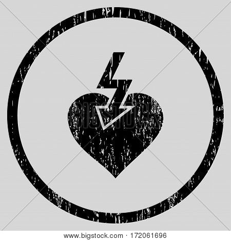 Heart Shock Strike grainy textured icon for overlay watermark stamps. Rounded flat vector symbol with dust texture. Circled black ink rubber seal stamp with grunge design on a light gray background.