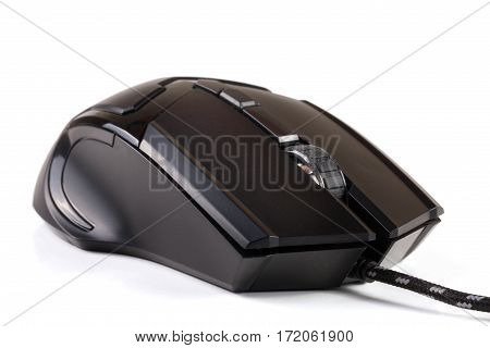 black computer mouse isolated on white background.