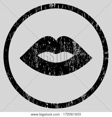 Lips grainy textured icon for overlay watermark stamps. Rounded flat vector symbol with unclean texture. Circled black ink rubber seal stamp with grunge design on a light gray background.