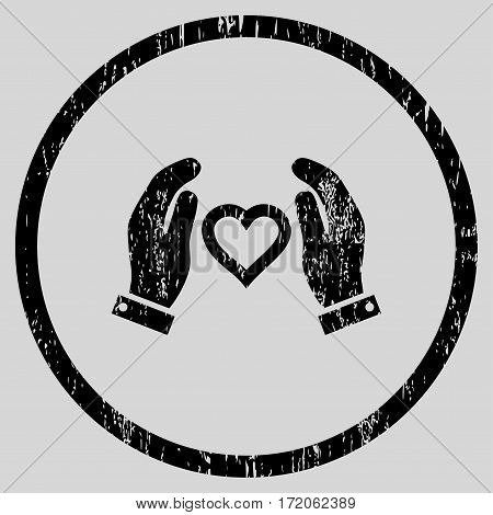 Love Care Hands grainy textured icon for overlay watermark stamps. Rounded flat vector symbol with dirty texture. Circled black ink rubber seal stamp with grunge design on a light gray background.