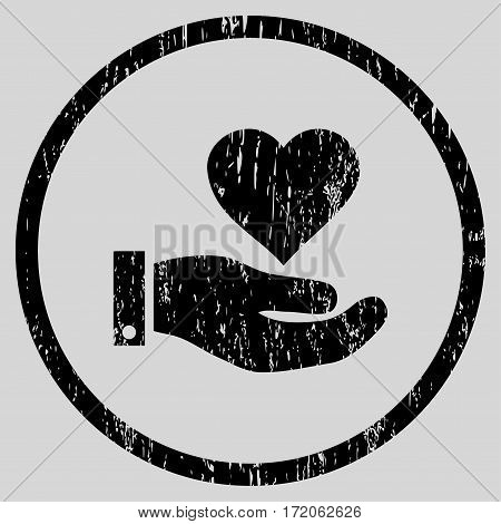 Love Heart Offer Hand grainy textured icon for overlay watermark stamps. Rounded flat vector symbol with dust texture.