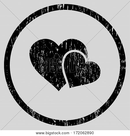 Love Hearts grainy textured icon for overlay watermark stamps. Rounded flat vector symbol with dust texture. Circled black ink rubber seal stamp with grunge design on a light gray background.