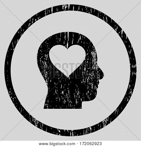 Love In Head grainy textured icon for overlay watermark stamps. Rounded flat vector symbol with dirty texture. Circled black ink rubber seal stamp with grunge design on a light gray background.