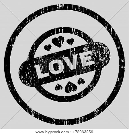 Love Stamp Seal grainy textured icon for overlay watermark stamps. Rounded flat vector symbol with dirty texture. Circled black ink rubber seal stamp with grunge design on a light gray background.