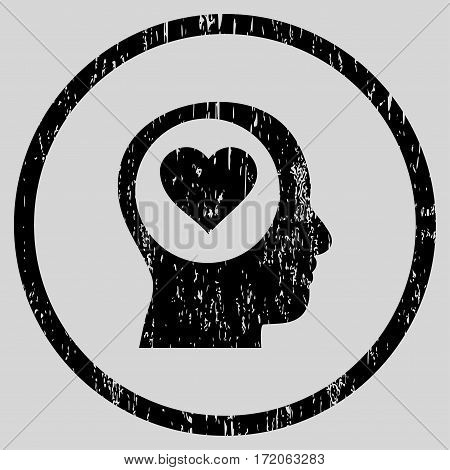 Love Thinking Head grainy textured icon for overlay watermark stamps. Rounded flat vector symbol with scratched texture.