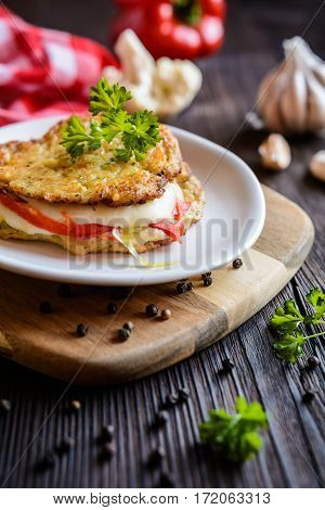 Cauliflower Fritters Stuffed With Mozzarella And Pepper
