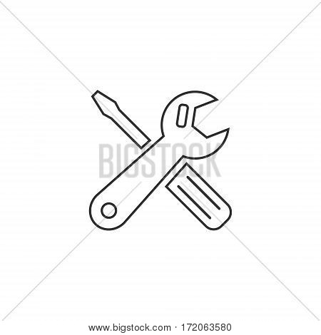 Car service sign icon outline. Repair grey sign. Vector isolated line object.