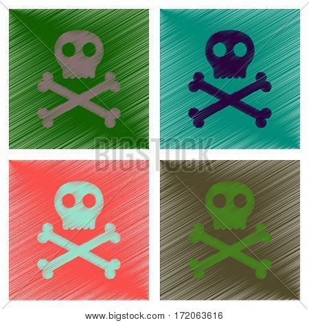 assembly flat shading style icons of halloween skull bones