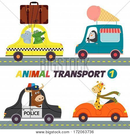 set of isolated transports with animals part 1 - vector illustration, eps