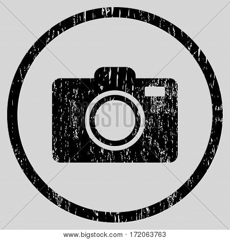 Photo Camera grainy textured icon for overlay watermark stamps. Rounded flat vector symbol with dirty texture. Circled black ink rubber seal stamp with grunge design on a light gray background.