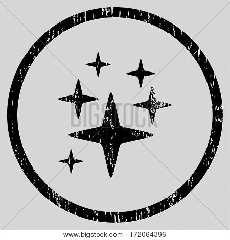 Sparkle Stars grainy textured icon for overlay watermark stamps. Rounded flat vector symbol with dirty texture. Circled black ink rubber seal stamp with grunge design on a light gray background.