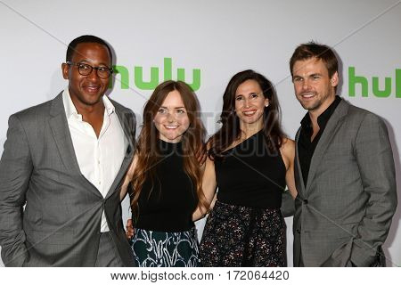 PASADENA - JAN 7:  Nyasha Hatendi, Tara Lynne Barr, Michaela Watkins, Tommy Dewey at the HULU TCA Winter 2017 Photo Call at the Langham Hotel on January 7, 2017 in Pasaden, CA