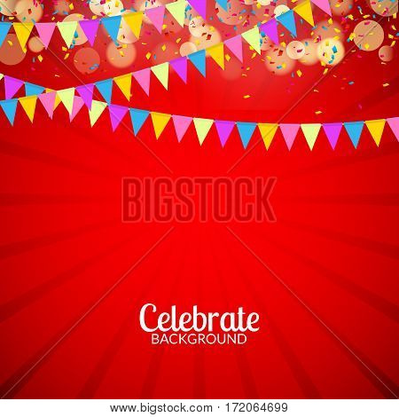 Vector festive card with confetti, party invitation. Festive celebration background.