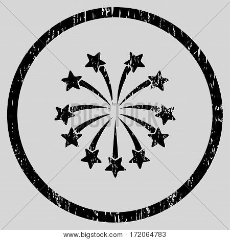 Spherical Fireworks grainy textured icon for overlay watermark stamps. Rounded flat vector symbol with dirty texture. Circled black ink rubber seal stamp with grunge design on a light gray background.