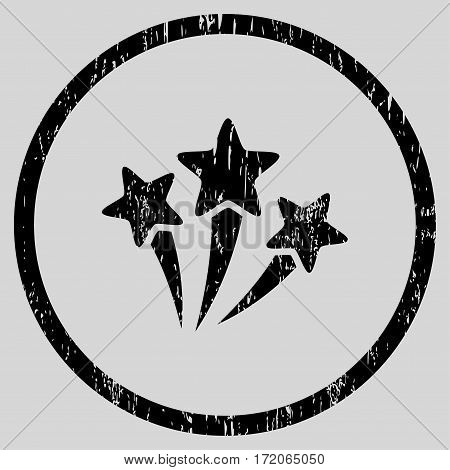 Star Fireworks grainy textured icon for overlay watermark stamps. Rounded flat vector symbol with dust texture. Circled black ink rubber seal stamp with grunge design on a light gray background.