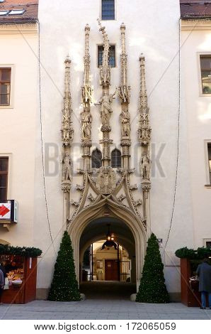 Photo of the entrance to the Old Town Hall in Brno, Czech Republic