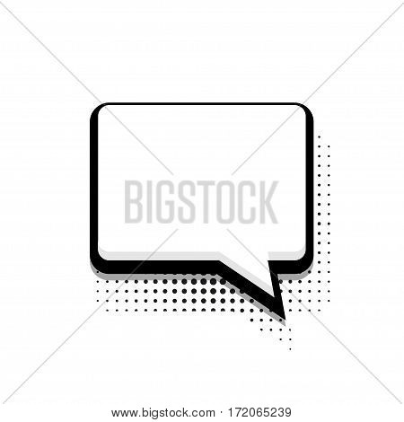 Vector modern halftone bubble speech icon on white background