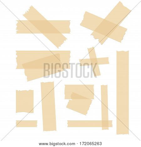 Adhesive tape set. Vector label adhesive strip pieces. Stick ripped tapes design.