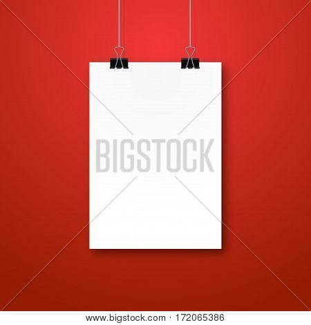 Paper poster mockup design. Paper sheet blank template. Frame on wall portfolio concept. Vector gallery.