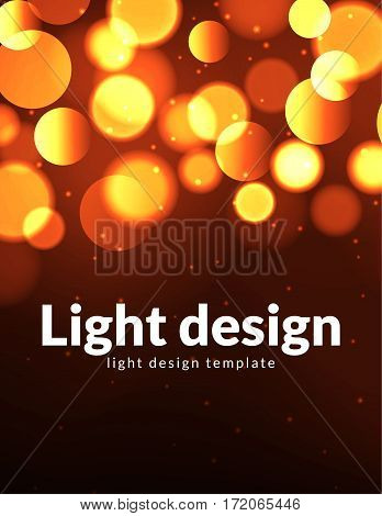 Poster design template with bokeh light effect. Vector modern card concept. Holiday flyer template for concert or show party