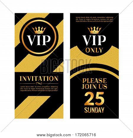 VIP party premium golden invitation card design. Quilted party banner certificate. Vip club with crown decoration. Elegant premium invitation.