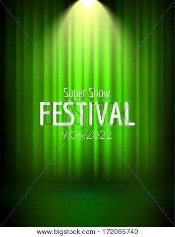 Festival show poster with spotlight. concert event, theater show design. Vector stage curtain. Poster flyer template with Light. Festive illustration.